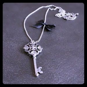 Silver Toned Vintage Key Necklace with Mini Bow
